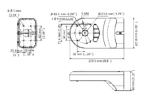 Muurbeugel (Hikvision) DS-1280ZJ-DM18 / Black